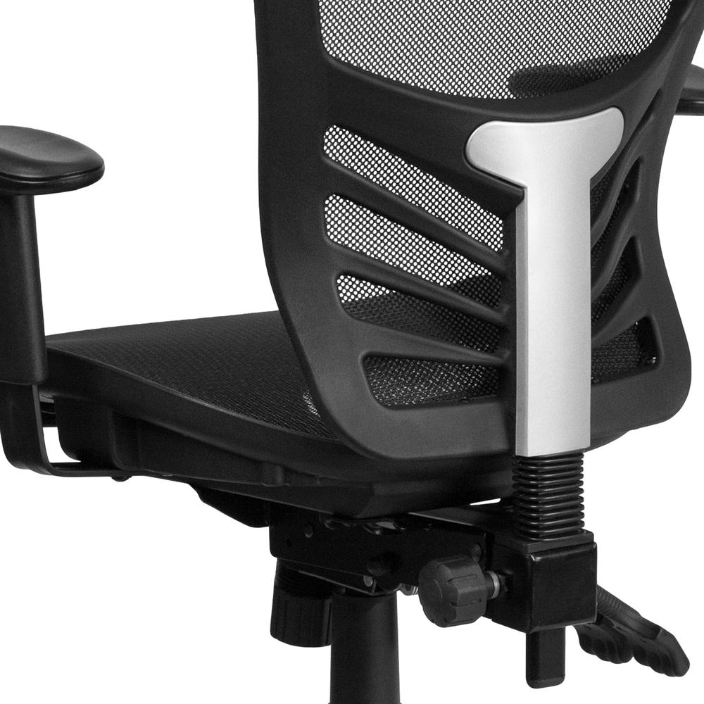 Mid-Back Transparent Black Mesh Multifunction Executive Swivel Ergonomic Office Chair with Adjustable Arms. Picture 8
