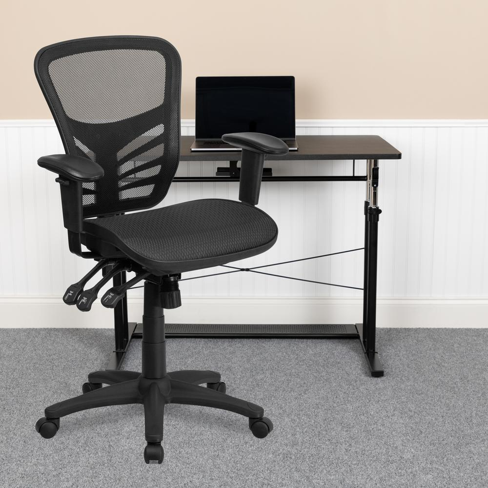 Mid-Back Transparent Black Mesh Multifunction Executive Swivel Ergonomic Office Chair with Adjustable Arms. Picture 9