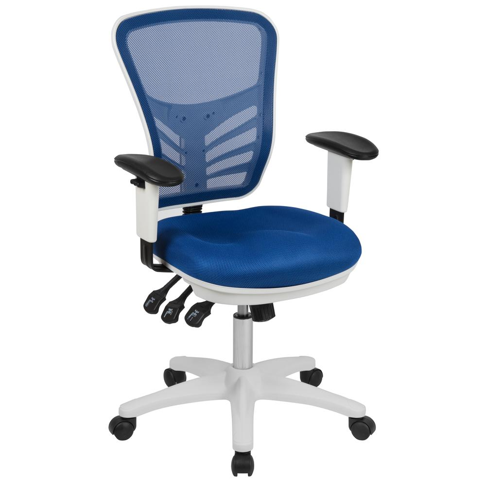 Mid-Back Blue Mesh Multifunction Executive Swivel Ergonomic Office Chair with Adjustable Arms and White Frame. Picture 1