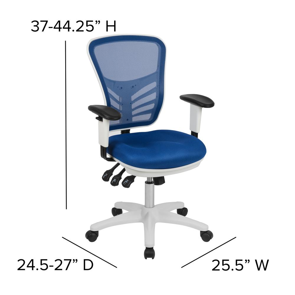Mid-Back Blue Mesh Multifunction Executive Swivel Ergonomic Office Chair with Adjustable Arms and White Frame. Picture 2