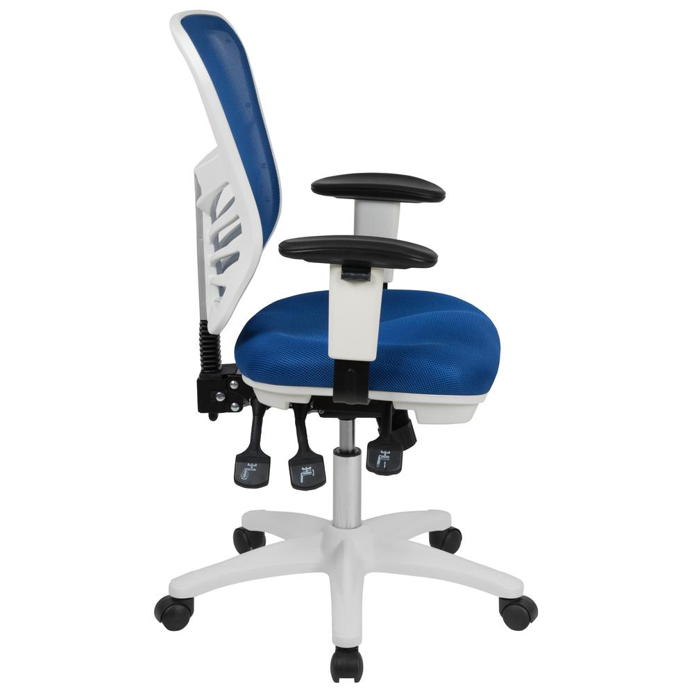 Mid-Back Blue Mesh Multifunction Executive Swivel Ergonomic Office Chair with Adjustable Arms and White Frame. Picture 3