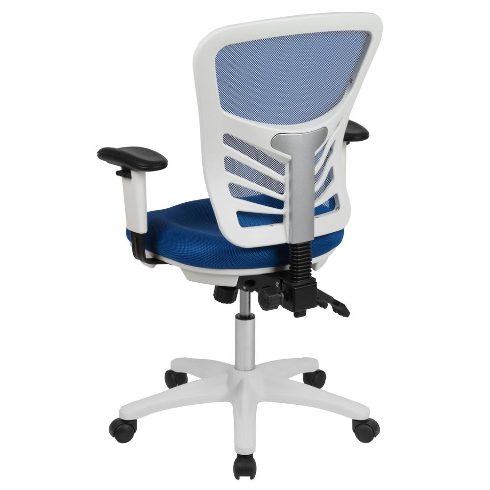 Mid-Back Blue Mesh Multifunction Executive Swivel Ergonomic Office Chair with Adjustable Arms and White Frame. Picture 4