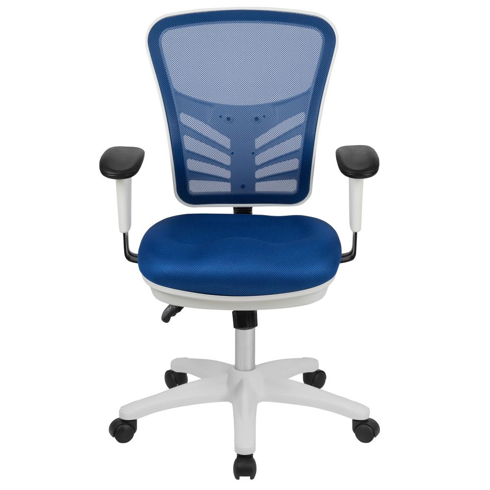 Mid-Back Blue Mesh Multifunction Executive Swivel Ergonomic Office Chair with Adjustable Arms and White Frame. Picture 5