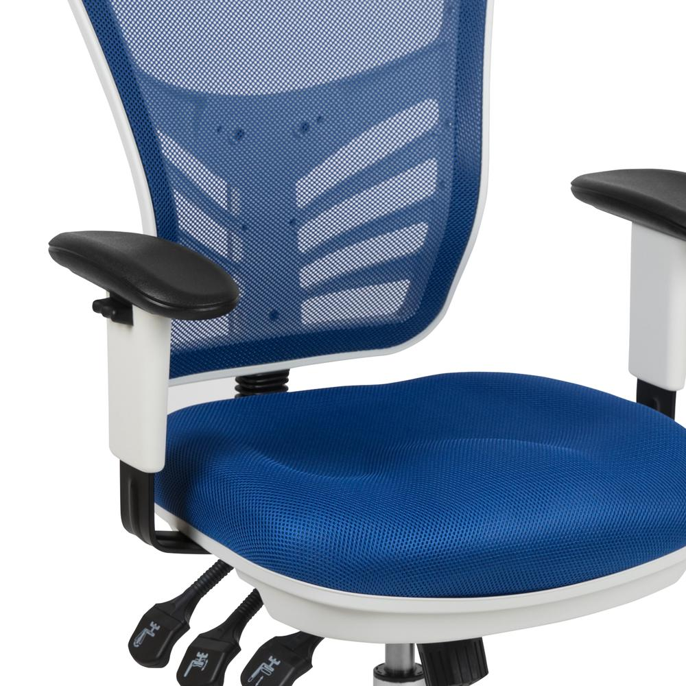 Mid-Back Blue Mesh Multifunction Executive Swivel Ergonomic Office Chair with Adjustable Arms and White Frame. Picture 7