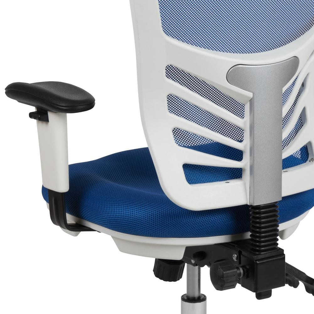 Mid-Back Blue Mesh Multifunction Executive Swivel Ergonomic Office Chair with Adjustable Arms and White Frame. Picture 8