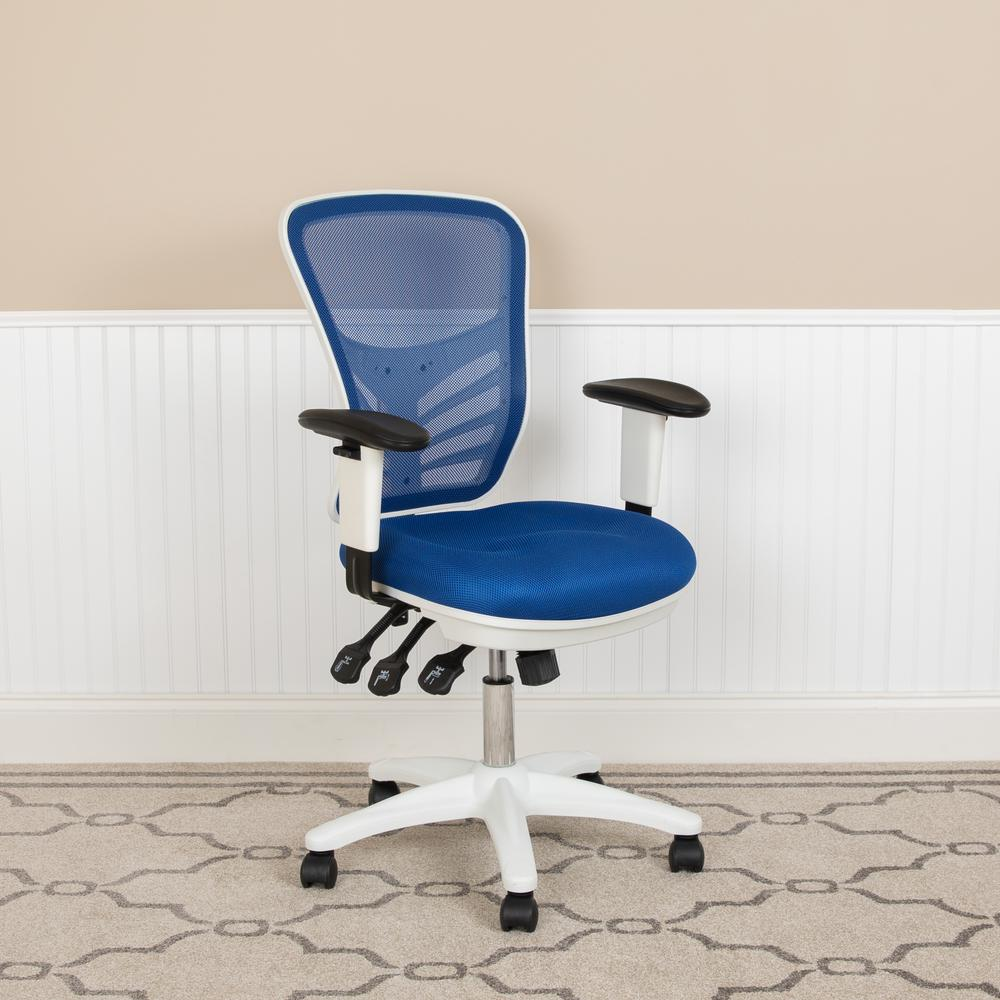 Mid-Back Blue Mesh Multifunction Executive Swivel Ergonomic Office Chair with Adjustable Arms and White Frame. Picture 11
