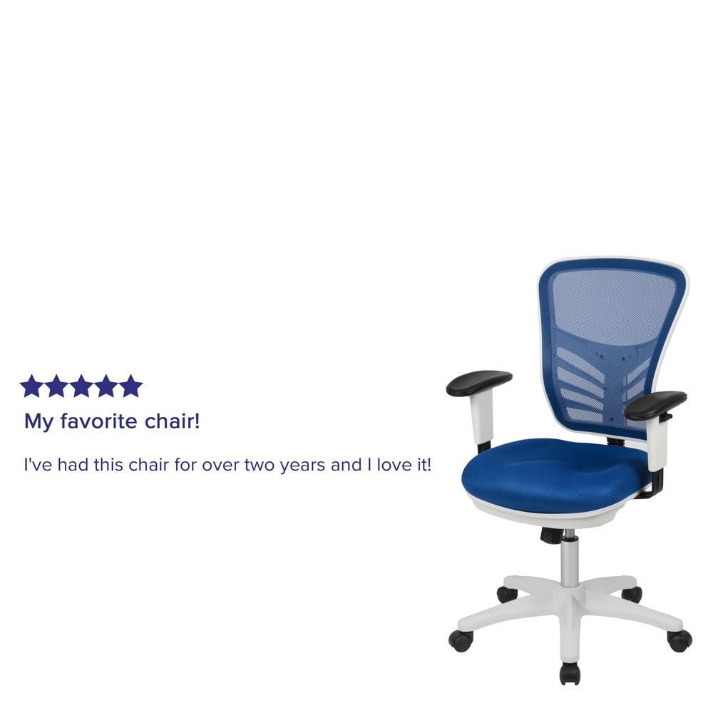 Mid-Back Blue Mesh Multifunction Executive Swivel Ergonomic Office Chair with Adjustable Arms and White Frame. Picture 12