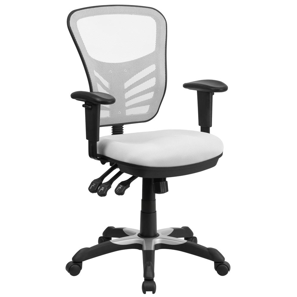 Mid-Back White Mesh Multifunction Executive Swivel Ergonomic Office Chair with Adjustable Arms. Picture 1