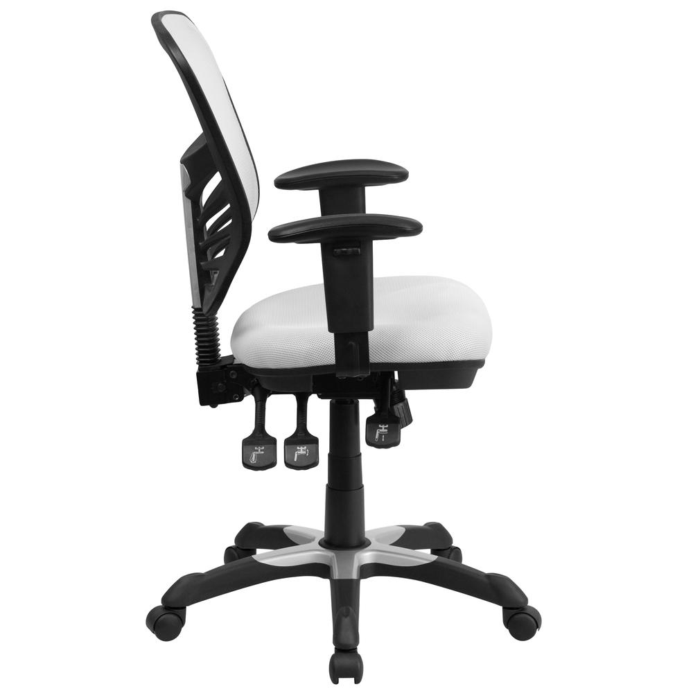Mid-Back White Mesh Multifunction Executive Swivel Ergonomic Office Chair with Adjustable Arms. Picture 3