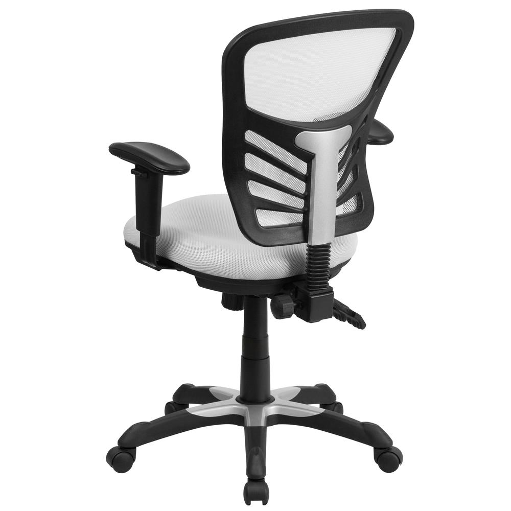 Mid-Back White Mesh Multifunction Executive Swivel Ergonomic Office Chair with Adjustable Arms. Picture 2