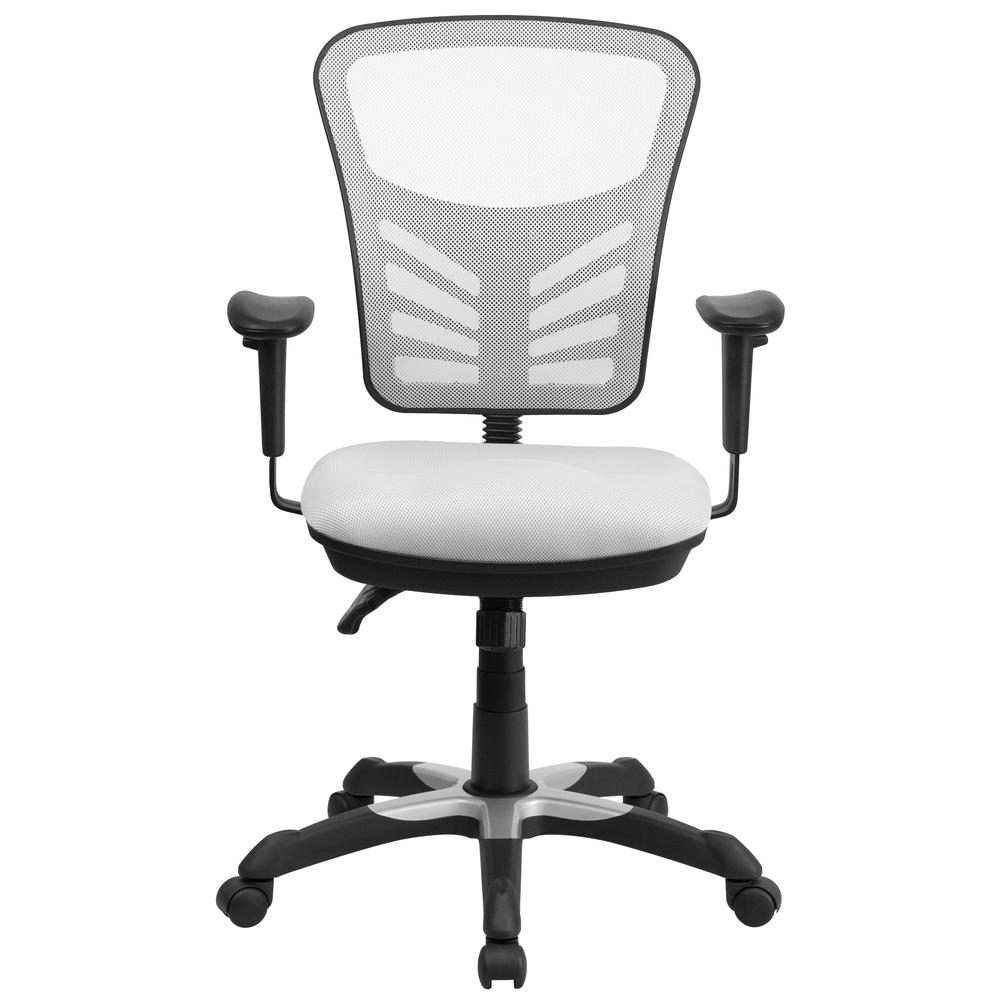 Mid-Back White Mesh Multifunction Executive Swivel Ergonomic Office Chair with Adjustable Arms. Picture 4