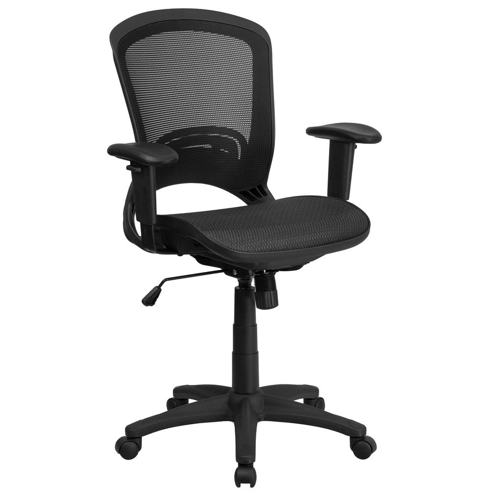 Mid-Back Transparent Black Mesh Executive Swivel Office Chair with Adjustable Arms. Picture 1