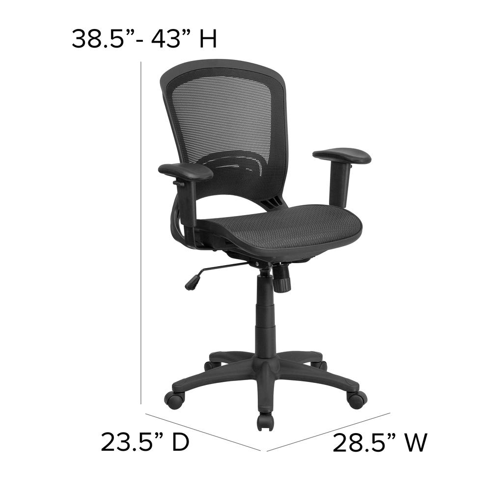 Mid-Back Transparent Black Mesh Executive Swivel Office Chair with Adjustable Arms. Picture 2