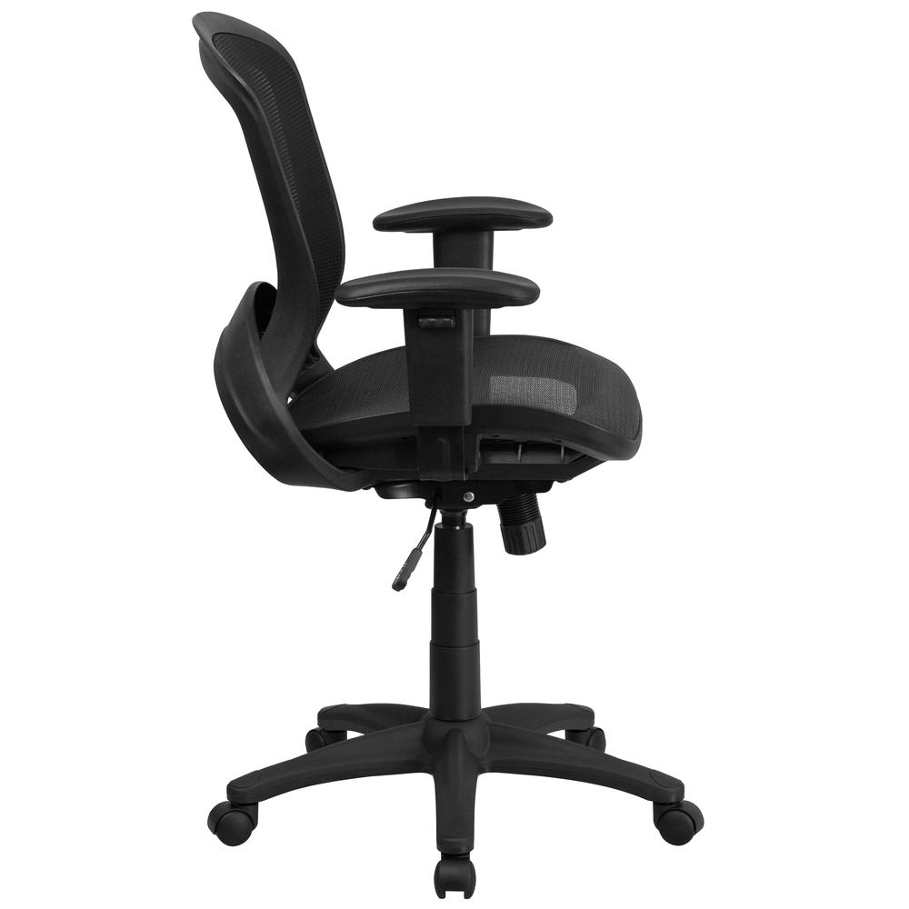 Mid-Back Transparent Black Mesh Executive Swivel Office Chair with Adjustable Arms. Picture 3