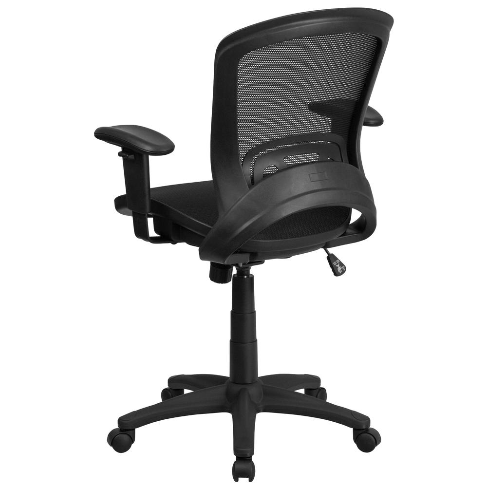 Mid-Back Transparent Black Mesh Executive Swivel Office Chair with Adjustable Arms. Picture 4