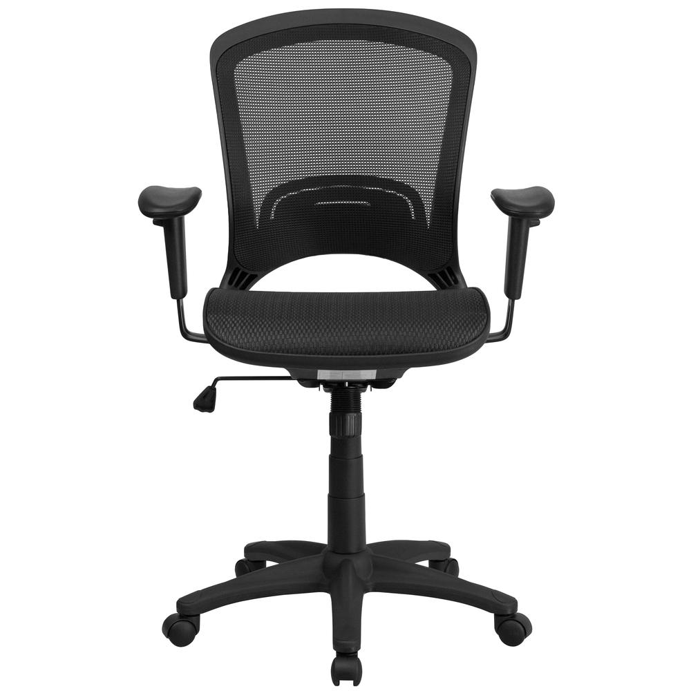 Mid-Back Transparent Black Mesh Executive Swivel Office Chair with Adjustable Arms. Picture 5