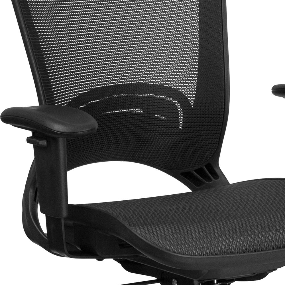 Mid-Back Transparent Black Mesh Executive Swivel Office Chair with Adjustable Arms. Picture 6