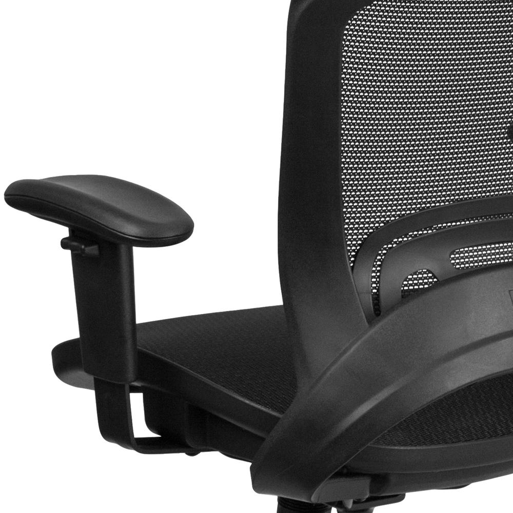 Mid-Back Transparent Black Mesh Executive Swivel Office Chair with Adjustable Arms. Picture 7