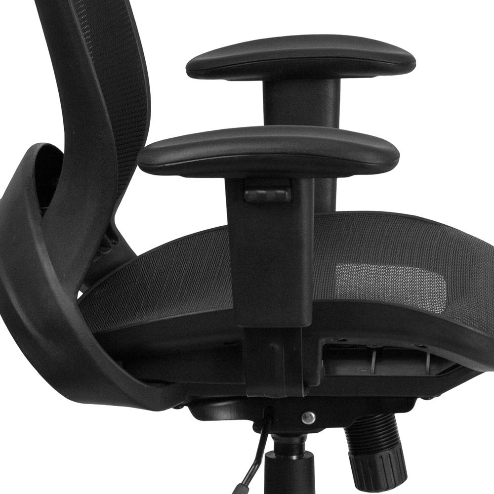 Mid-Back Transparent Black Mesh Executive Swivel Office Chair with Adjustable Arms. Picture 8