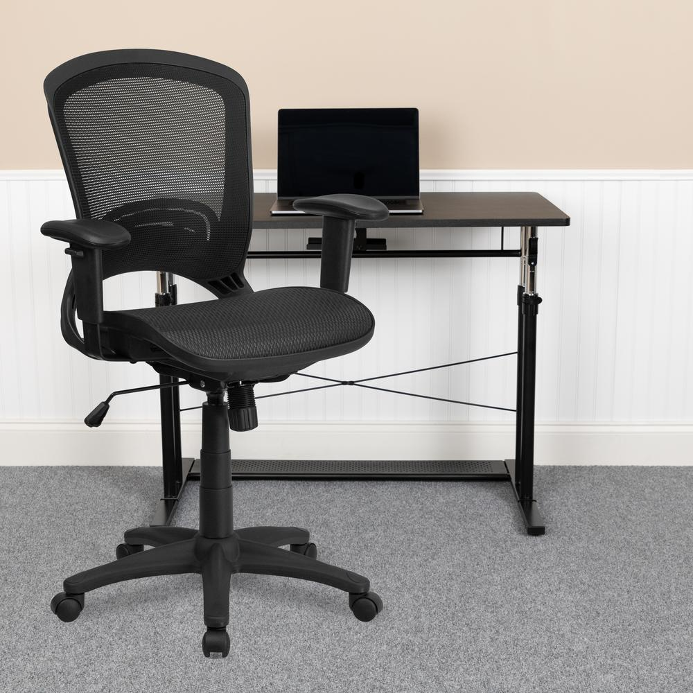 Mid-Back Transparent Black Mesh Executive Swivel Office Chair with Adjustable Arms. Picture 9
