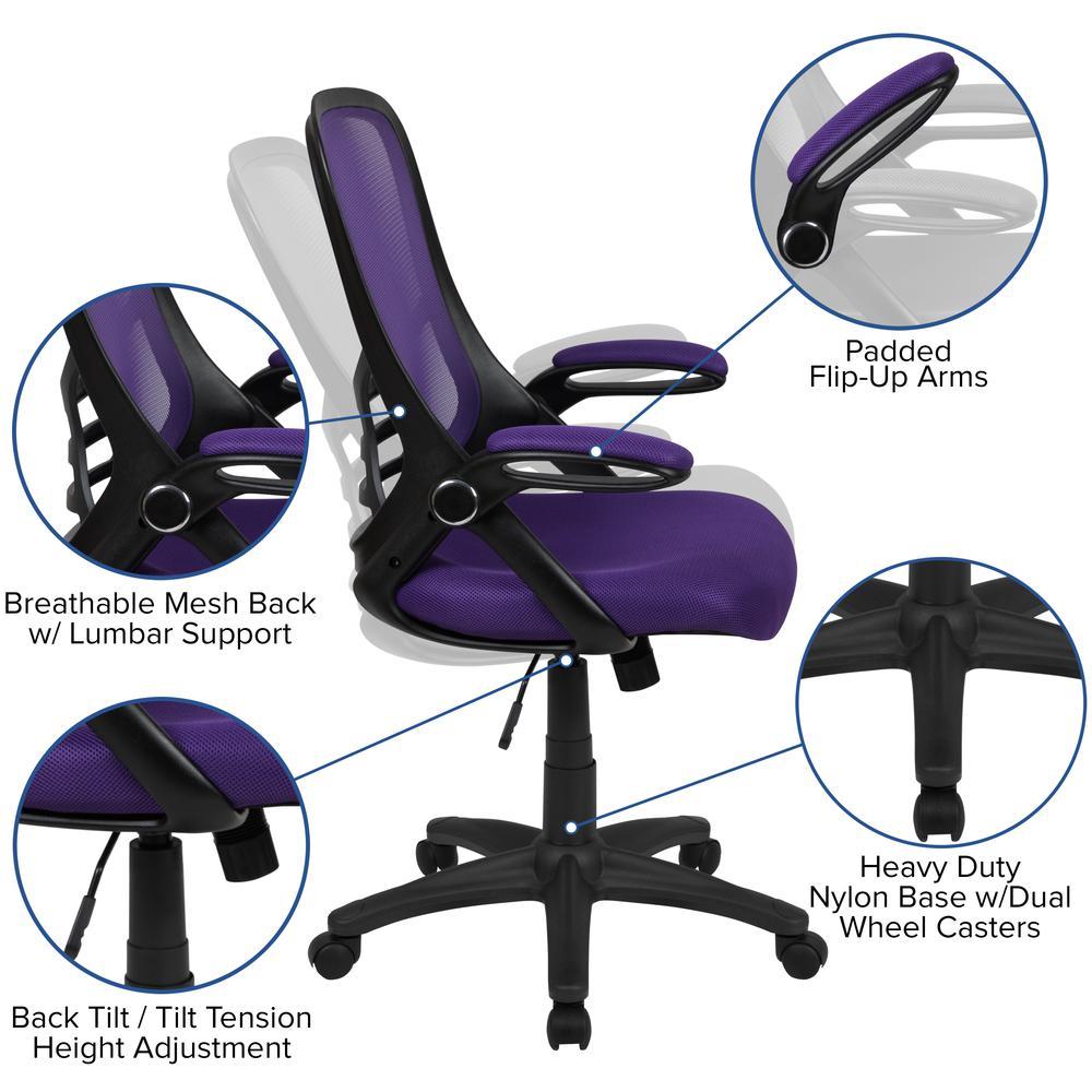 High Back Purple Mesh Ergonomic Swivel Office Chair with ...