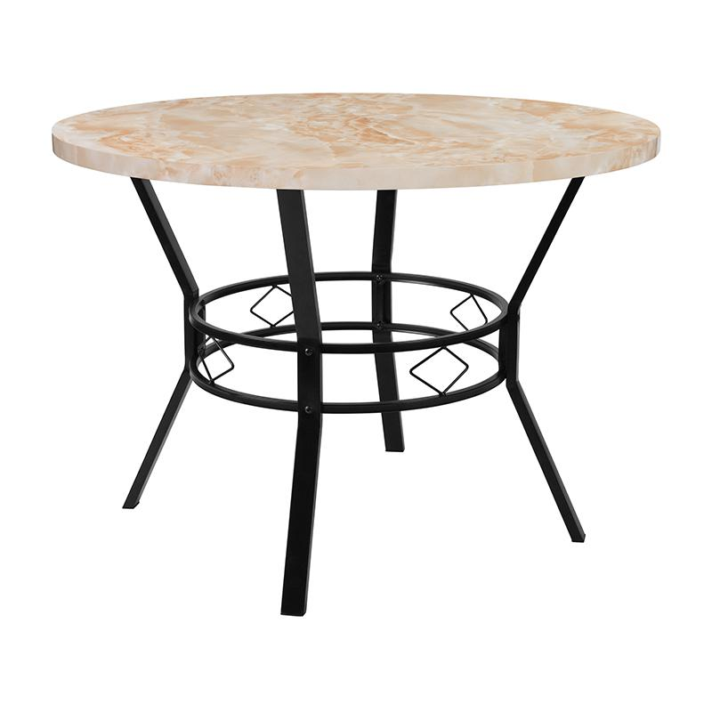 "Quartz Kitchen Tables: Tremont 42"" Round Dining Table In Quartz Marble-Like Finish"