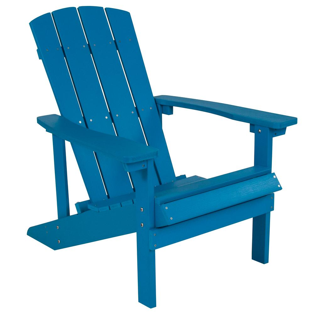 All-Weather Adirondack Chair in Blue Faux Wood. Picture 1