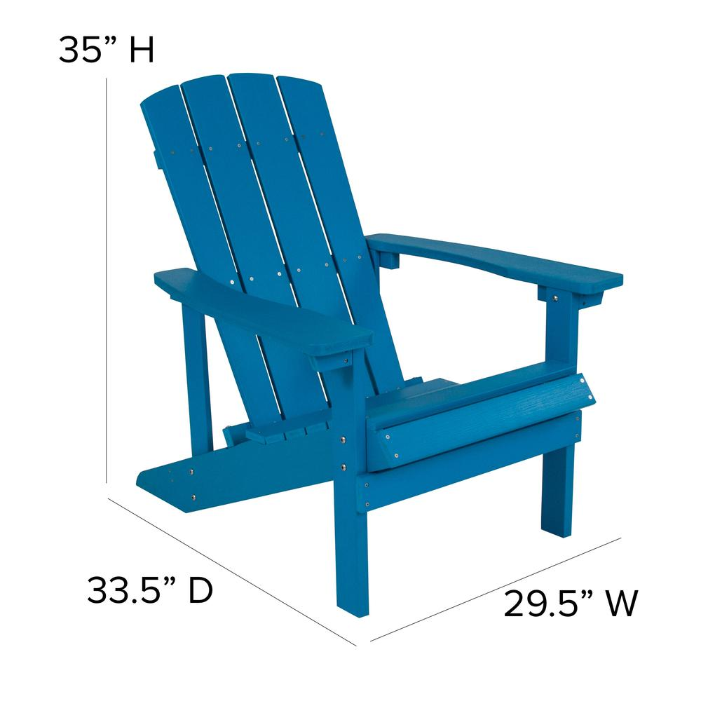 All-Weather Adirondack Chair in Blue Faux Wood. Picture 2