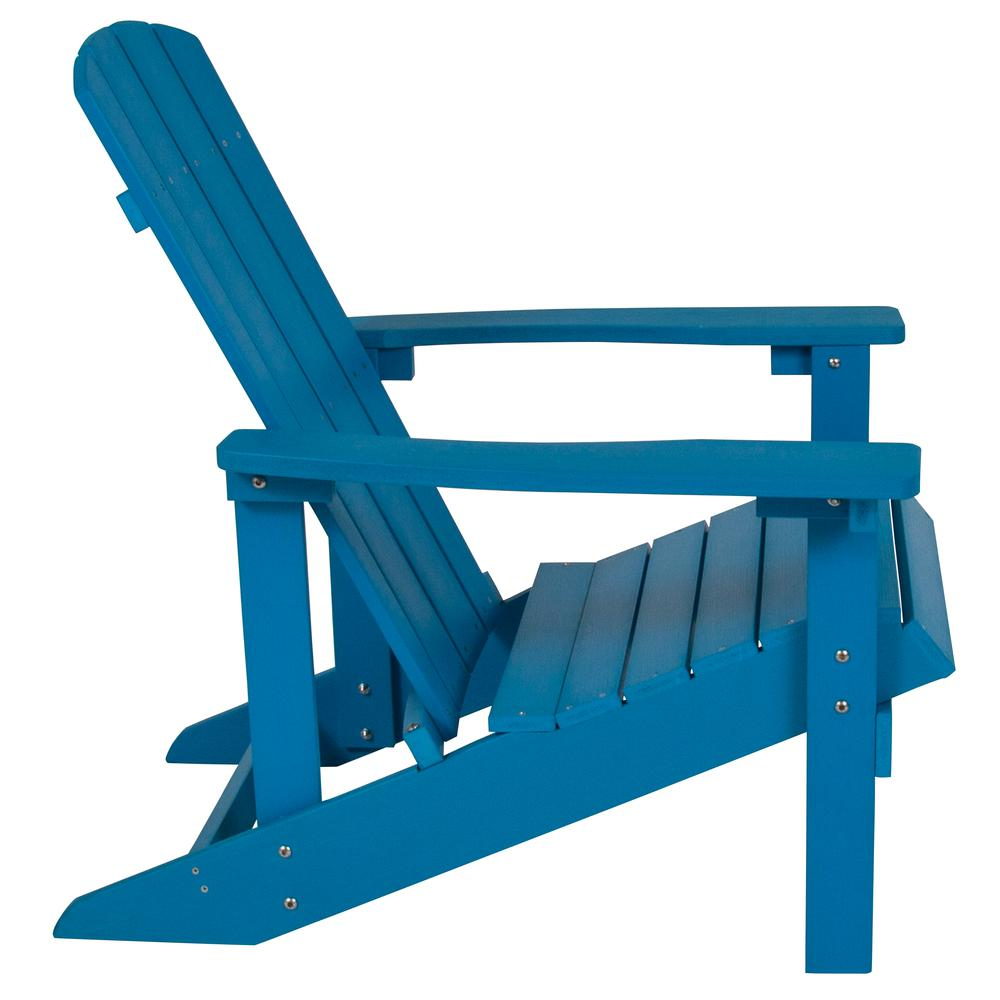 All-Weather Adirondack Chair in Blue Faux Wood. Picture 3