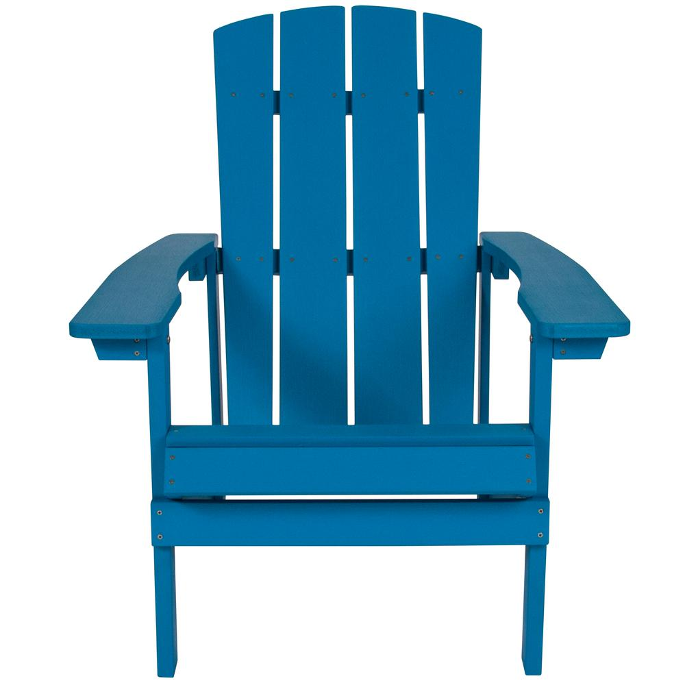 All-Weather Adirondack Chair in Blue Faux Wood. Picture 5