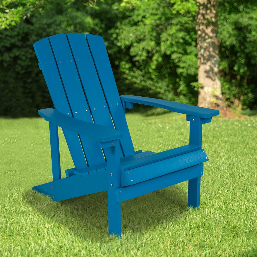 All-Weather Adirondack Chair in Blue Faux Wood. Picture 6