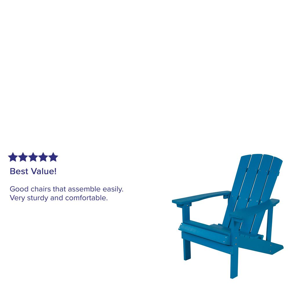 All-Weather Adirondack Chair in Blue Faux Wood. Picture 7