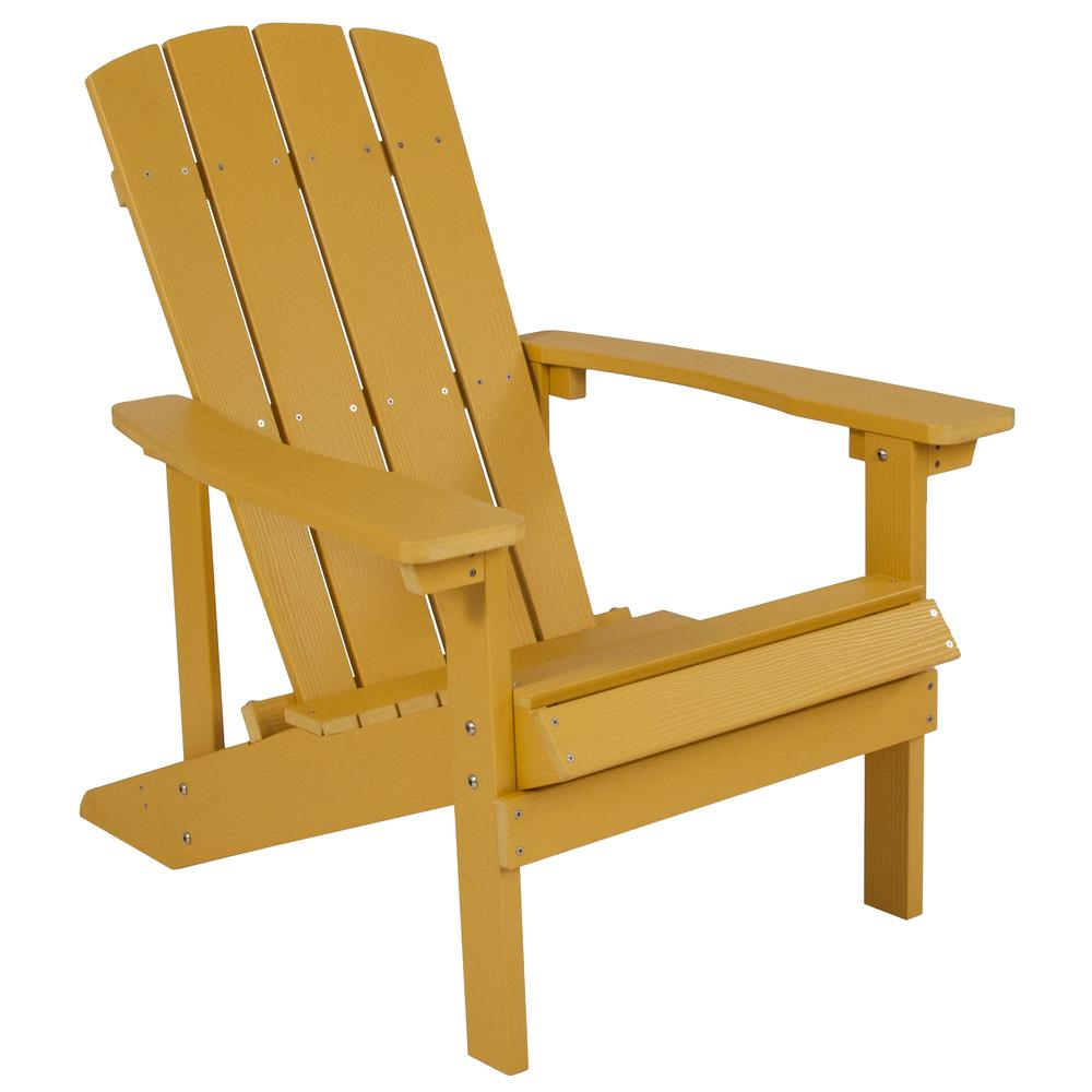 All-Weather Adirondack Chair in Yellow Faux Wood. Picture 1