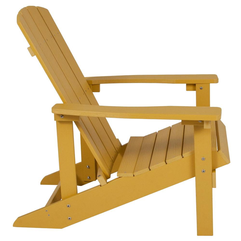 All-Weather Adirondack Chair in Yellow Faux Wood. Picture 2