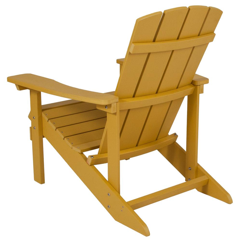 All-Weather Adirondack Chair in Yellow Faux Wood. Picture 3