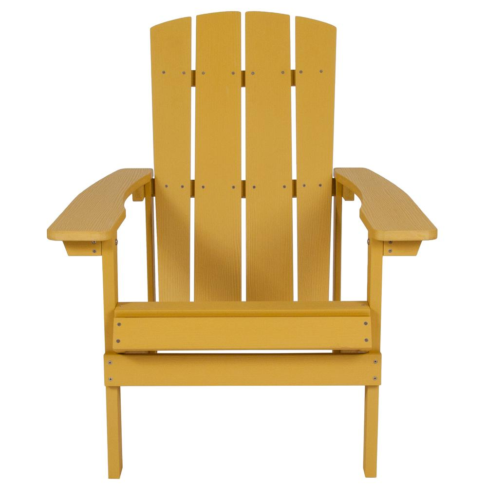 All-Weather Adirondack Chair in Yellow Faux Wood. Picture 4