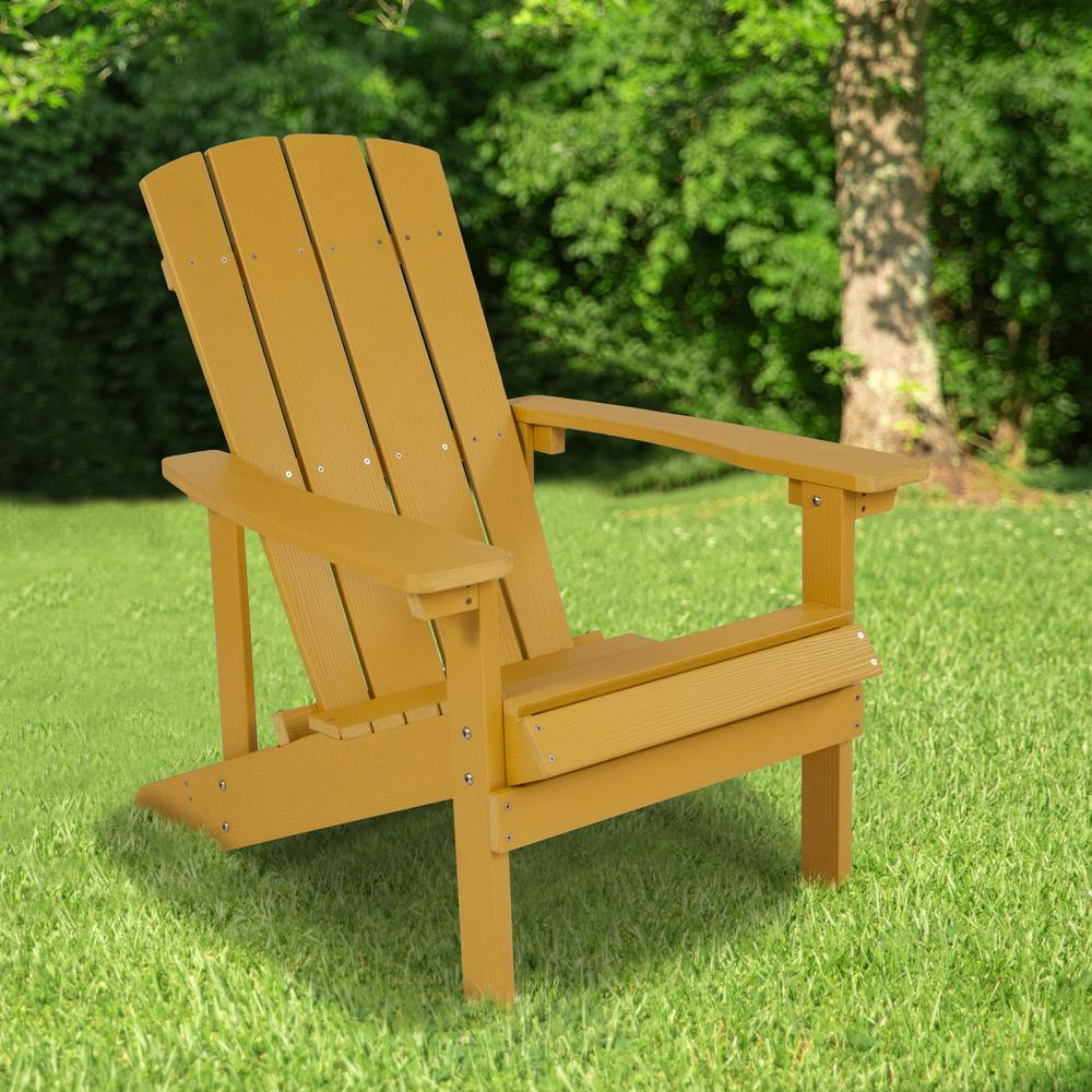 All-Weather Adirondack Chair in Yellow Faux Wood. Picture 5