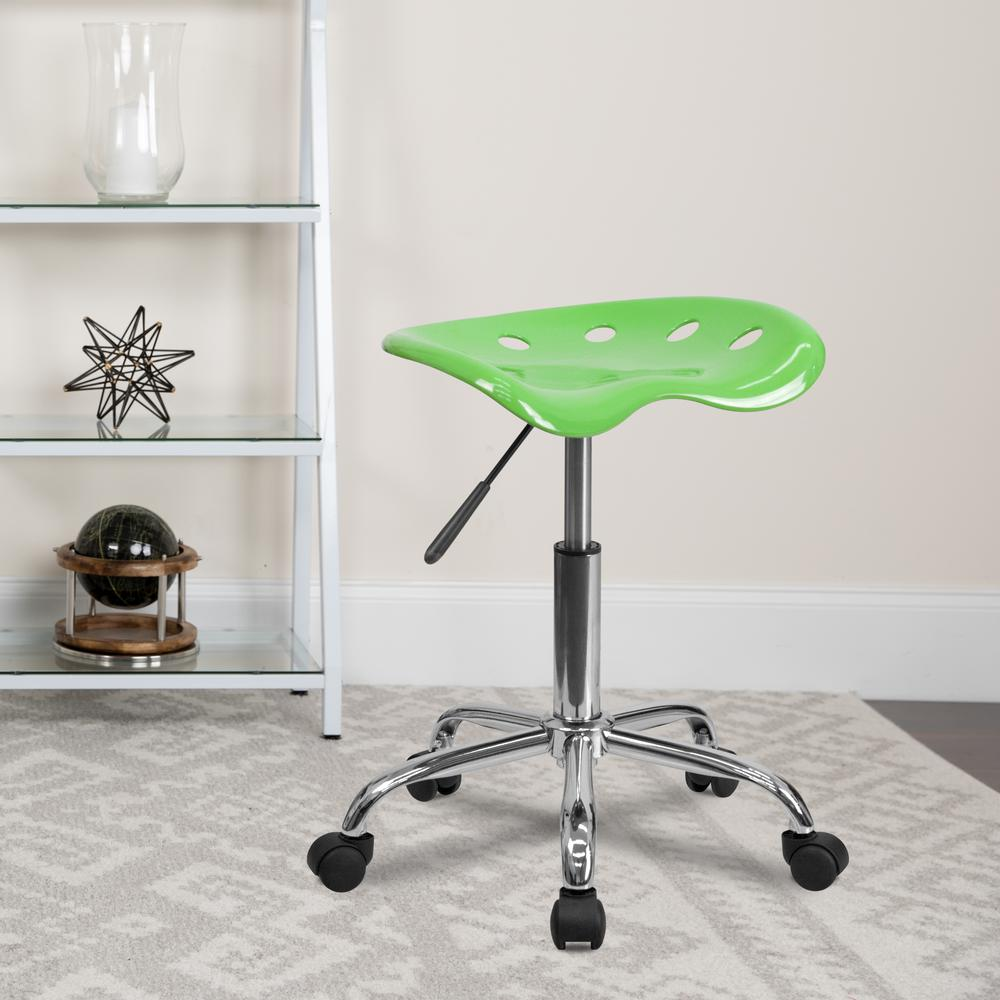 Vibrant Apple Green Tractor Seat and Chrome Stool. Picture 5