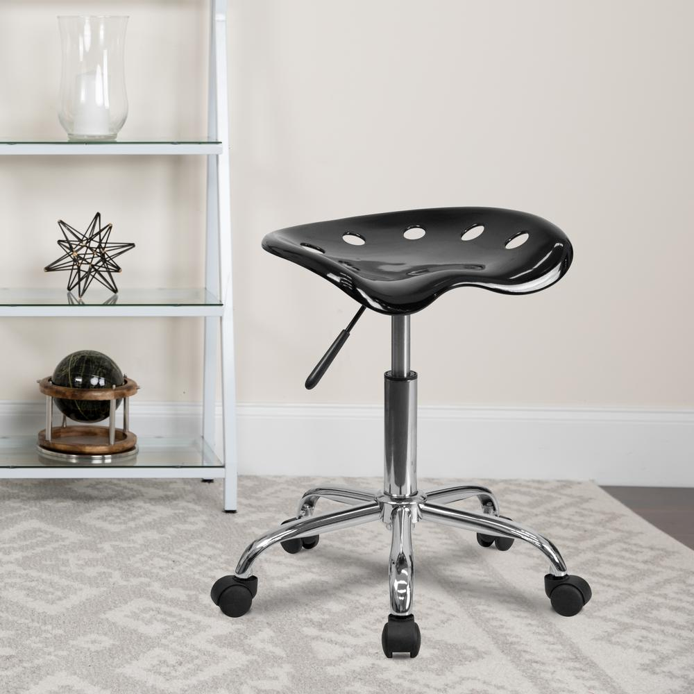 Vibrant Black Tractor Seat and Chrome Stool. Picture 8