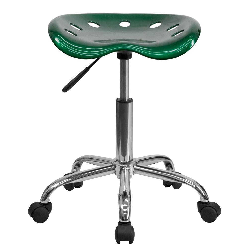 Vibrant Green Tractor Seat and Chrome Stool. Picture 4