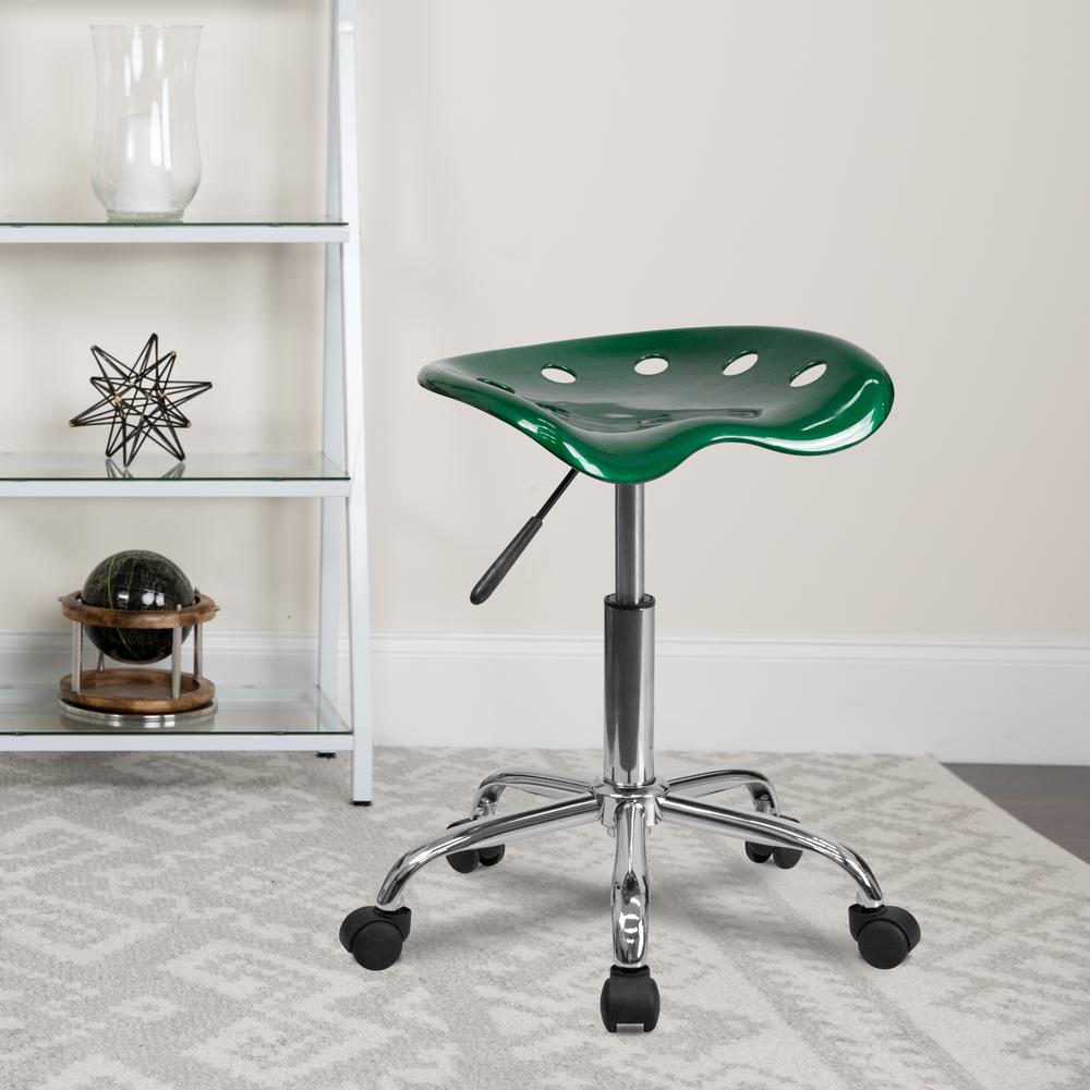 Vibrant Green Tractor Seat and Chrome Stool. Picture 5