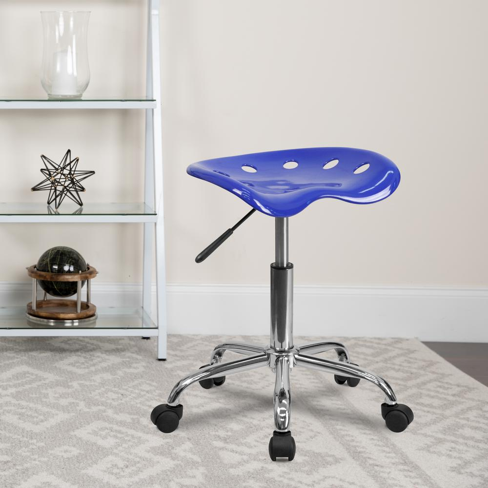 Vibrant Nautical Blue Tractor Seat and Chrome Stool. Picture 5
