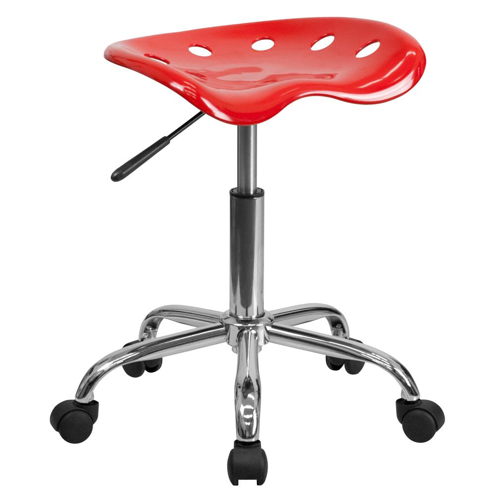 Vibrant Red Tractor Seat and Chrome Stool. Picture 1