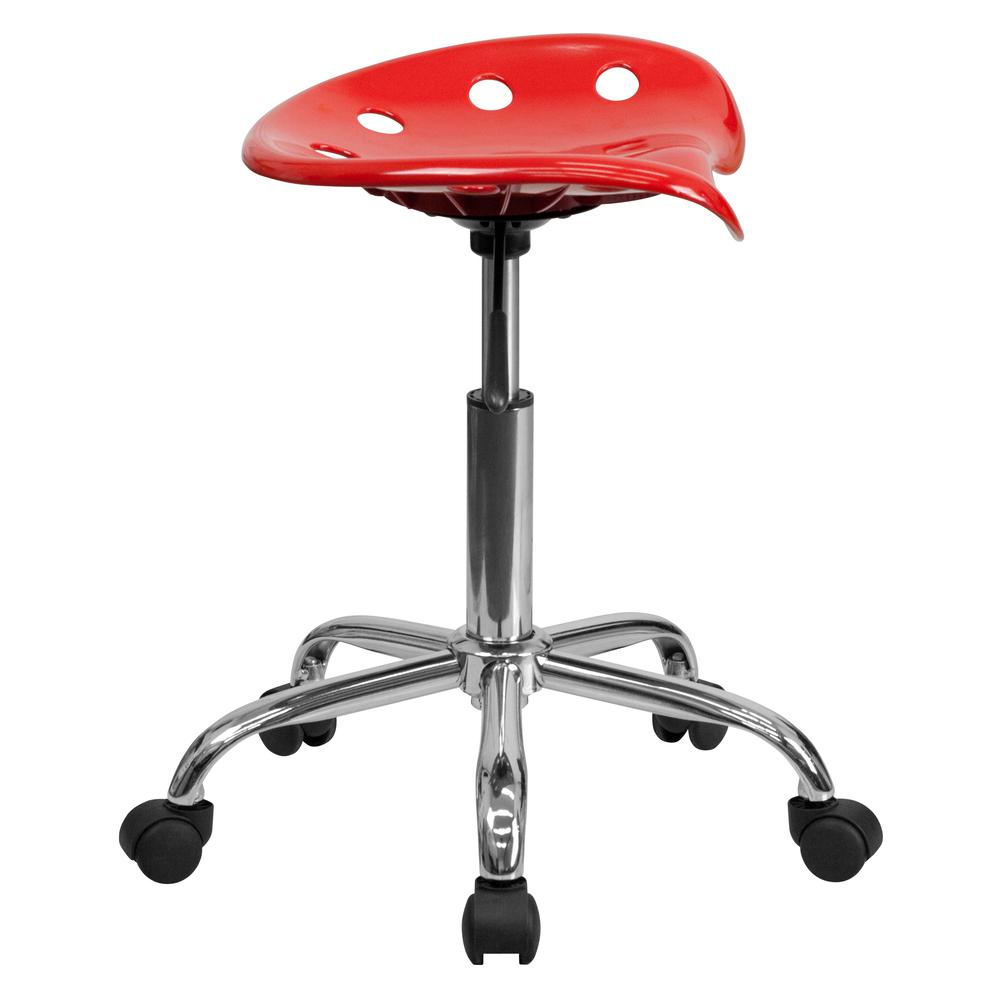 Vibrant Red Tractor Seat and Chrome Stool. Picture 2