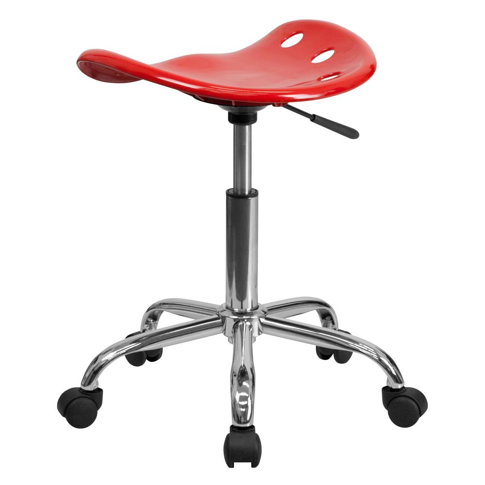 Vibrant Red Tractor Seat and Chrome Stool. Picture 3