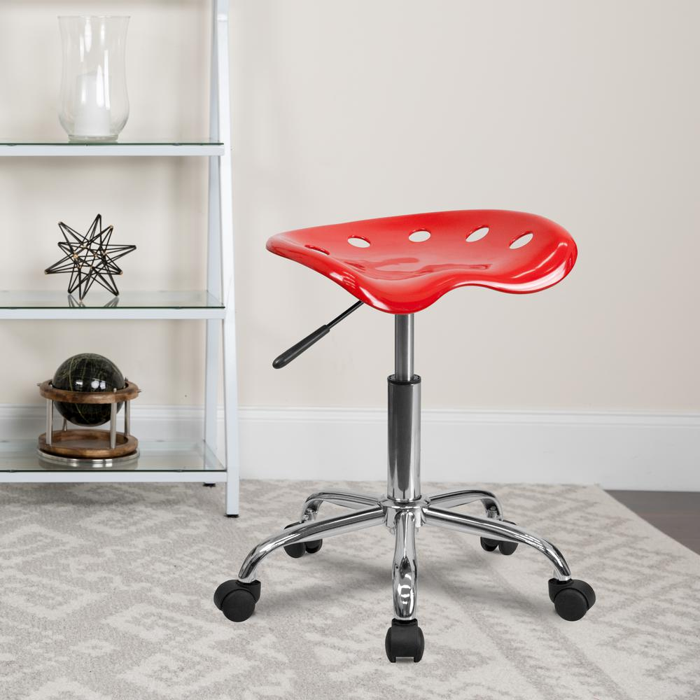 Vibrant Red Tractor Seat and Chrome Stool. Picture 5