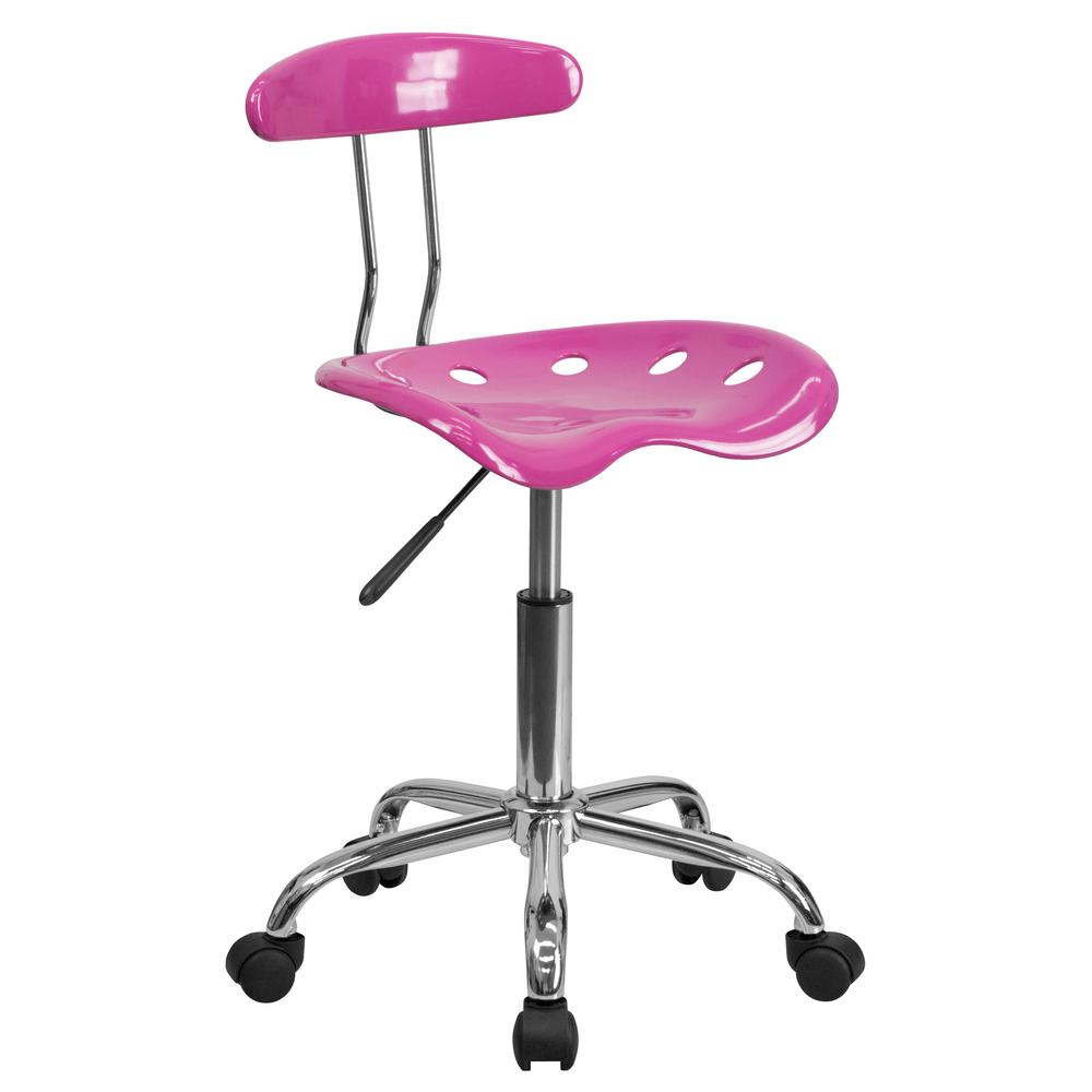 Vibrant Candy Heart and Chrome Swivel Task Office Chair with Tractor Seat. Picture 1