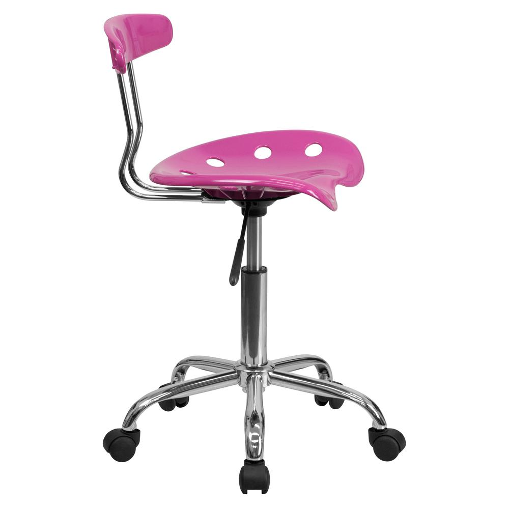 Vibrant Candy Heart and Chrome Swivel Task Office Chair with Tractor Seat. Picture 3