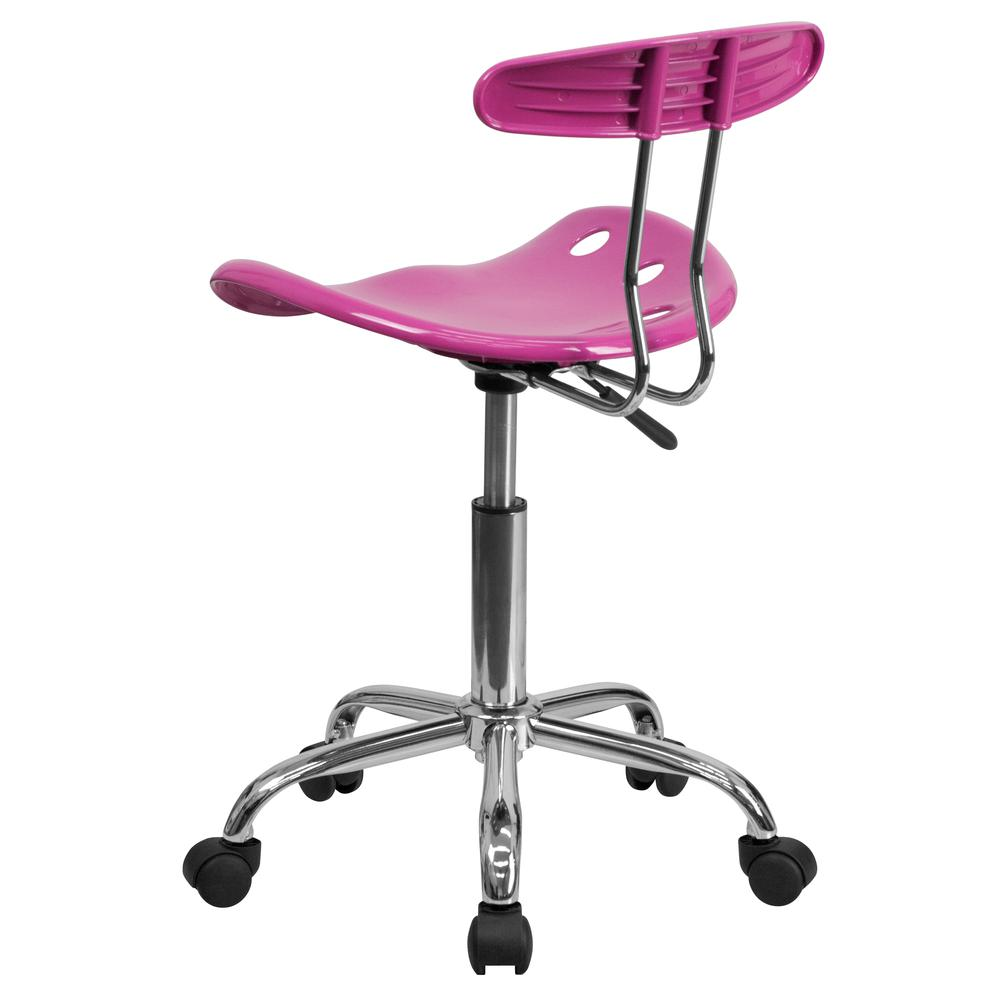 Vibrant Candy Heart and Chrome Swivel Task Office Chair with Tractor Seat. Picture 4
