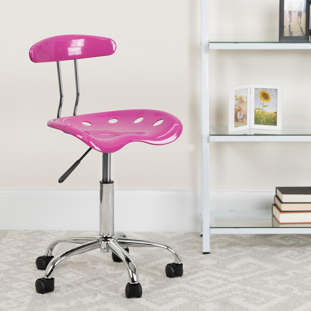 Vibrant Candy Heart and Chrome Swivel Task Office Chair with Tractor Seat. Picture 6